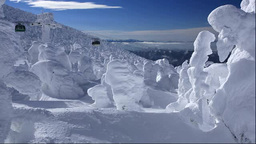 蔵王の樹氷と蔵王ロープウェイ山頂線 Footage