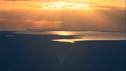 北海道 流氷と夕景の光芒 Stock Video Footage