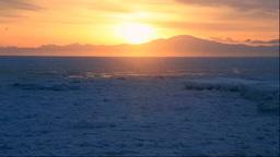 北海道 流氷と知床半島からの日の出 Stock Video Footage