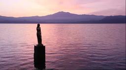 朝焼けの田沢湖とたつこ像 Footage