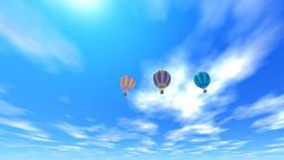 空に浮かぶ気球と太陽 Stock Video Footage