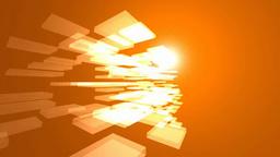 オレンジ色の空間に透明なオブジェと光 Footage