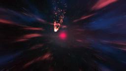 宇宙空間を突き進むオレンジ色の光 Stock Video Footage