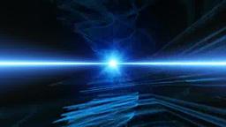 無限の空間に青い光の帯 Stock Video Footage