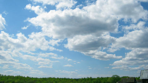 timelapse with clouds moving over forest Stock Video Footage