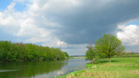 timelapse with storm clouds moving over lake Stock Video Footage