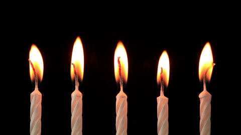 Candles on a Birthday cake burning down, time lapse Stock Video Footage