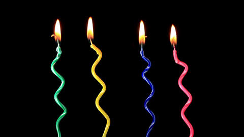 Candles on a Birthday cake burning down Stock Video Footage