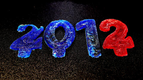 Happy New Year 2012, Time lapse ice is melting figures Stock Video Footage
