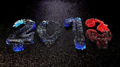 Happy New Year 2013, Time lapse ice is melting figures Stock Video Footage