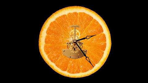 Orange clock on the black background, Timelapse Stock Video Footage