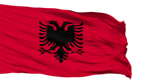 Waving national flag of Albania Animation
