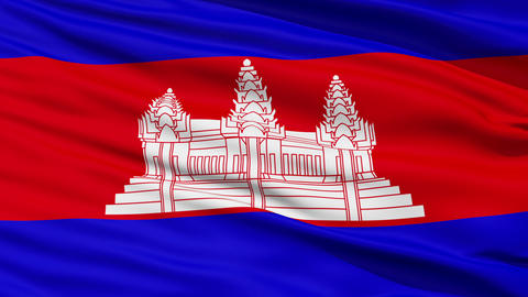 Waving national flag of Cambodia Stock Video Footage