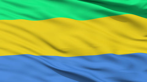 Waving national flag of Gabon Animation