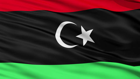 Waving national flag of Libiya Stock Video Footage