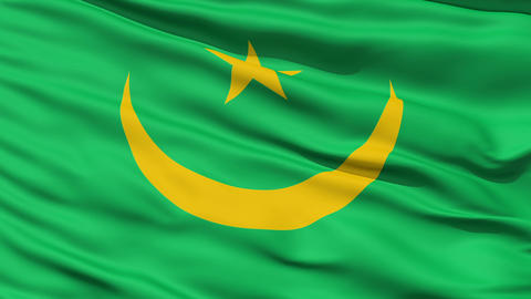 Waving national flag of Mauritania Stock Video Footage
