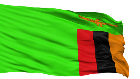 Waving national flag of Zambia Animation