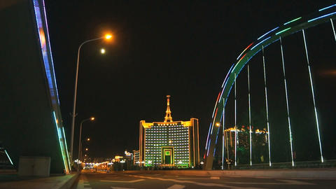 Heihe City Night Bridge Illuminated Stock Video Footage