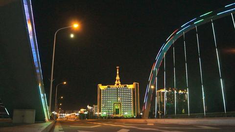 Heihe City Night Bridge Illuminated Footage