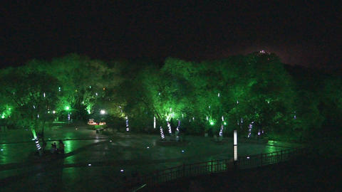 Heihe City Night Park Top View Stock Video Footage
