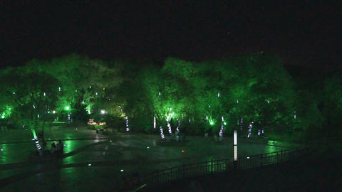 Heihe City Night Park Top View Footage