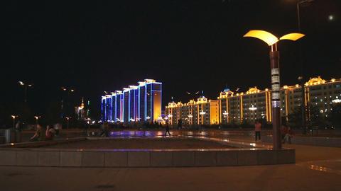 Heihe City Evening Promenade 02 Stock Video Footage