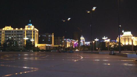 Heihe City Evening Promenade 04 Stock Video Footage
