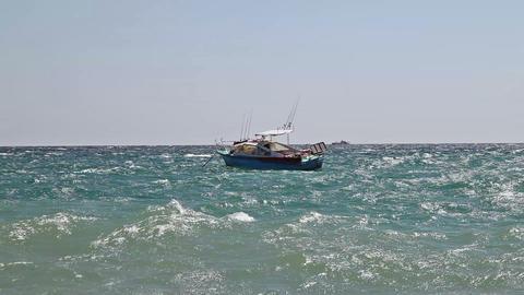 Motor boat on sea waves Stock Video Footage