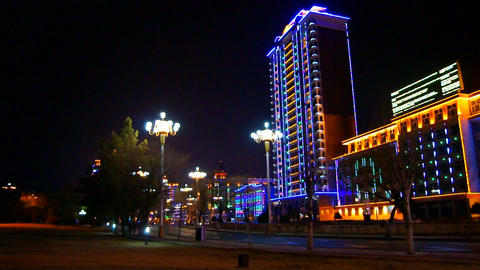 Heihe City Night Street View Stock Video Footage