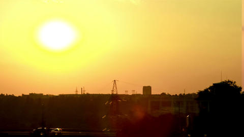 Cars at sunset timelapse Stock Video Footage