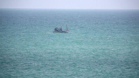 Fishing ship in open sea Stock Video Footage