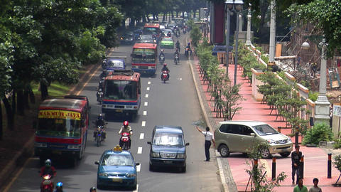 10705 indonesia jakarta city traffic wide real time Stock Video Footage