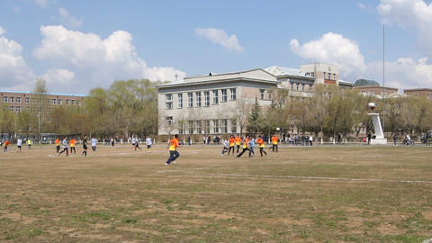 Chinese Students Play Football Stock Video Footage