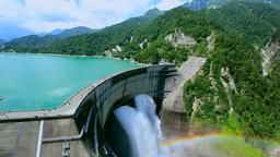 夏の黒部ダムと虹と黒部湖 Footage