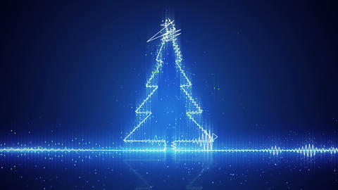 techno christmas tree electric wave loopable animation 4k (4096x2304) Animation