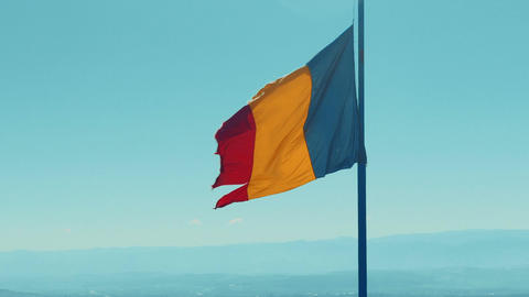 Ripped Romanian Flag Footage