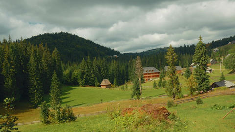 Pastoral Scene In The Romanian Countryside On An Sunny Day - Wide Angle stock footage
