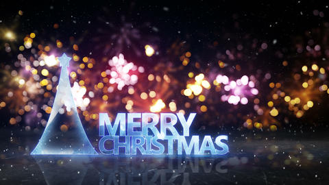 merry christmas sign and fireworks on background loop 4k (4096x2304) Animation