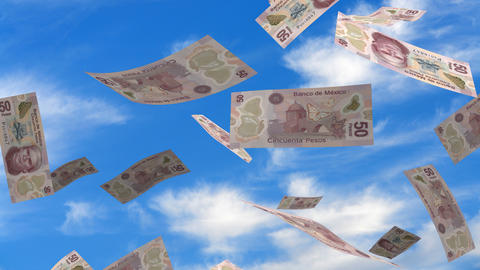 Falling Mexican Pesos stock footage