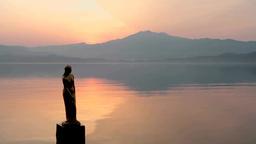 朝のたつこ像と田沢湖 Footage