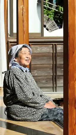 Grandma sitting on Engawa Footage