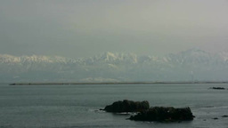 Amaharashi Coast And Tateyama Mountain Range stock footage