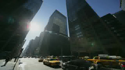 Sun Moving Above Skyscrapers, Shadows And Convoy stock footage