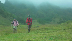 Man and woman wearing backpacks and walking a trail Footage