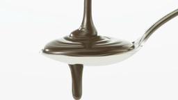 スプーンに注がれるチョコレートシロップ Footage