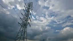 高圧線鉄塔と雲の流れ Footage