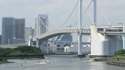 Rainbow Bridge and pleasure cruise boats Footage