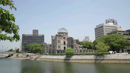 Atomic Bomb Dome And Motoyasu River stock footage