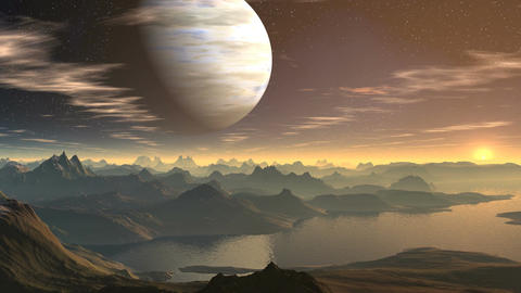 The gas giant and sunrise on a fantastic planet Stock Video Footage