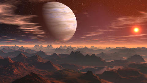 The gas giant and sunrise on a fantastic planet Animation